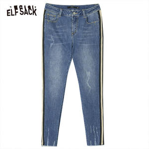 Image 5 - ELFSACK Blue Solid Washed Straight Casual Pencil Jeans Woman 2019 Winter Plaid Patchwork Skinny Office Ladies Basic Daily Pants