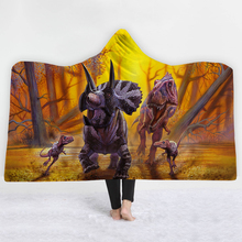 Dinosaur Hooded Blanket For Adults Kids 3D Printed Europe Portable Sofa Wearable Soft Throw Home Travel