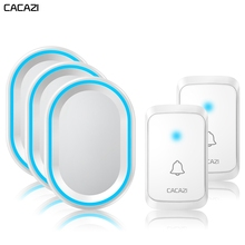 CACAZI Wireless Doorbell Waterproof 1 Button 1 2 3 Receiver 300M Remote Home Intelligent Door Bell 58 Chimes US EU UK AU Plug cacazi 9809 ac remote control wireless doorbell waterproof wireless door bell elderly pager or door chimes 2 1 match design