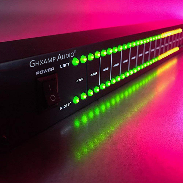 GHXAMP 전문 무대 홈 앰프 스피커 듀얼 40 스펙트럼 오디오 LED 스테레오 레벨 표시기 57dB 0dB
