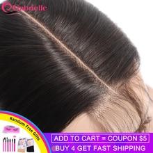 Gabrielle средняя часть кружева Закрытие 2x6 бразильские человеческие волосы, Натуральные Прямые Цвет Волосы remy Ким K застежка