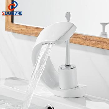 SOGANRE Waterfall Bathroom Faucet Brass Hot and Cold Water Faucet White Basin Faucet Single Handle Water Mixer Tap torneiras fyparf tall basin faucet brass bathroom sink faucet waterfall hot and hot water tap black matte single handle swivel spout mixer