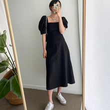 Summer White Black Woman Long Dress Korean Style Vintage Short Sleeve Sexy Squar
