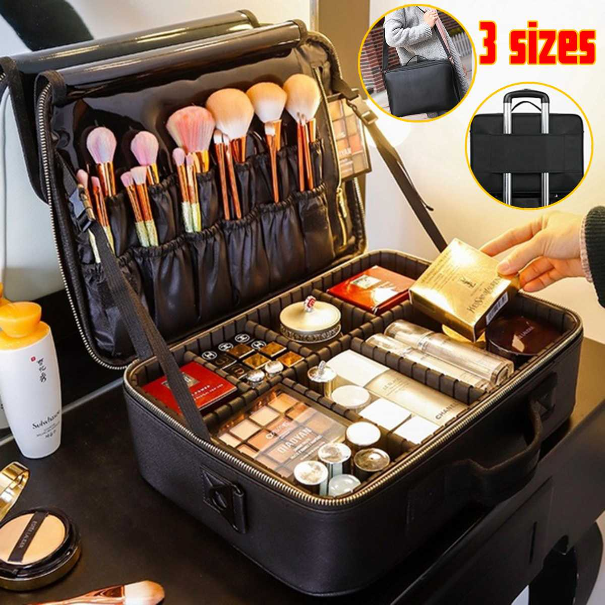 High Quality Professional Makeup Organizer Bolso Mujer Cosmetic Case Travel Large Capacity Storage Bag Suitcases Make Up Bag