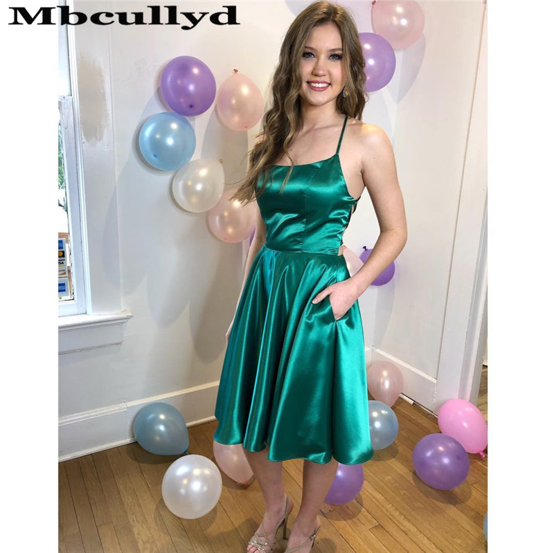 Mbcullyd Chic Satin Short Prom Dresses 2020 Halter Neck Reflective Party Gowns Cheap Under 100 Vestidos De Fiesta De Noche