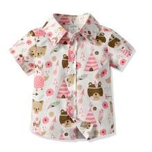 Childrenswear Child Summer Korean-style Pure Cotton Childrenswear Bear Printed Short-sleeved Shirt