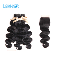Lekker Body Wave Bundles with Closure 8'' 30'' M Remy Brazilian Weave Hair 3 Bundles with 4*4 Lace Closure 100% Human Hair