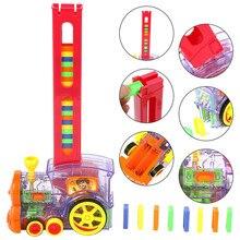 Автоматический домино для укладки кирпича игрушечный поезд автомобиль со звуковым светом лифт пружинный мост катапульта поезд модель набор домино