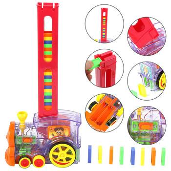 Automatyczna zabawka do układania cegieł Domino lokomotywa z dźwiękiem lekka winda Springboard Bridge katapulta model pociągu Domino Set tanie i dobre opinie SKUD57341 8 ~ 13 Lat 14Y Z tworzywa sztucznego Transport