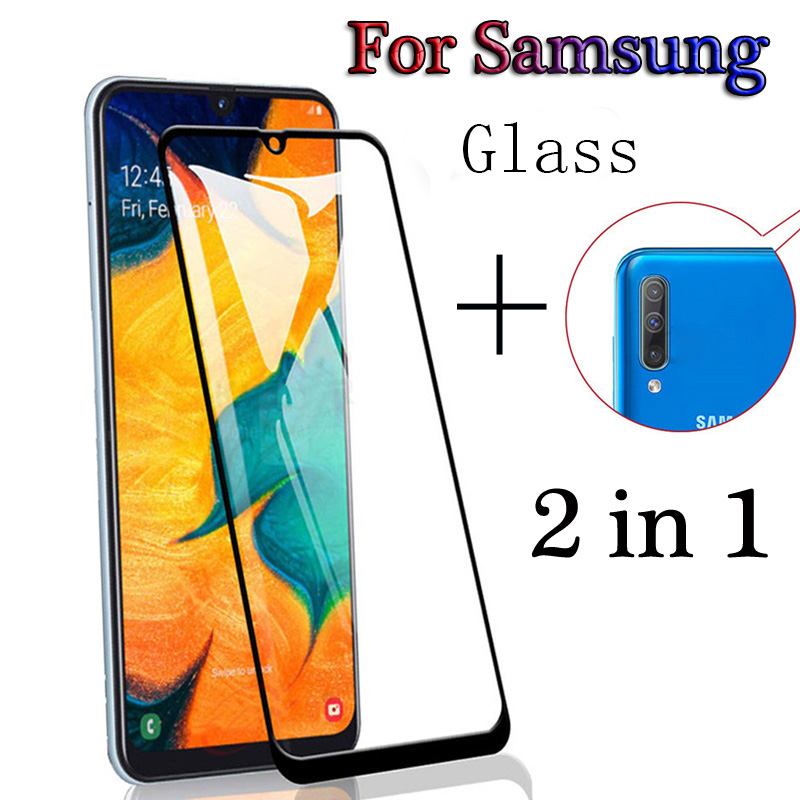 2in1 Screen Protector Full Protective Glass For Samsung Galaxy A50 A505F Camera Lens Film Tempered Glass On For Galaxy A70 A705F