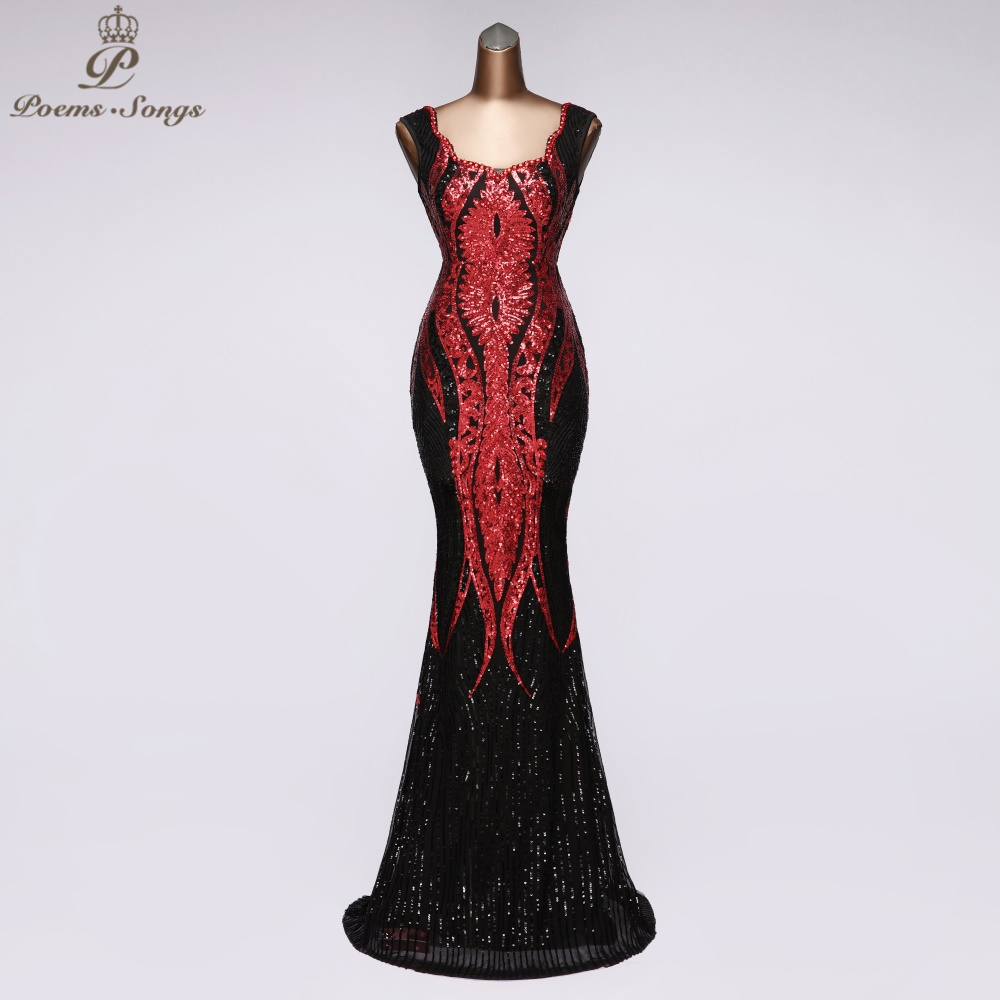 Real Photos Elegant Sequins Mermaid Evening Dress Sleeveless Vestidos Beautiful Party Dresses Women Dresses Robe De Soiree