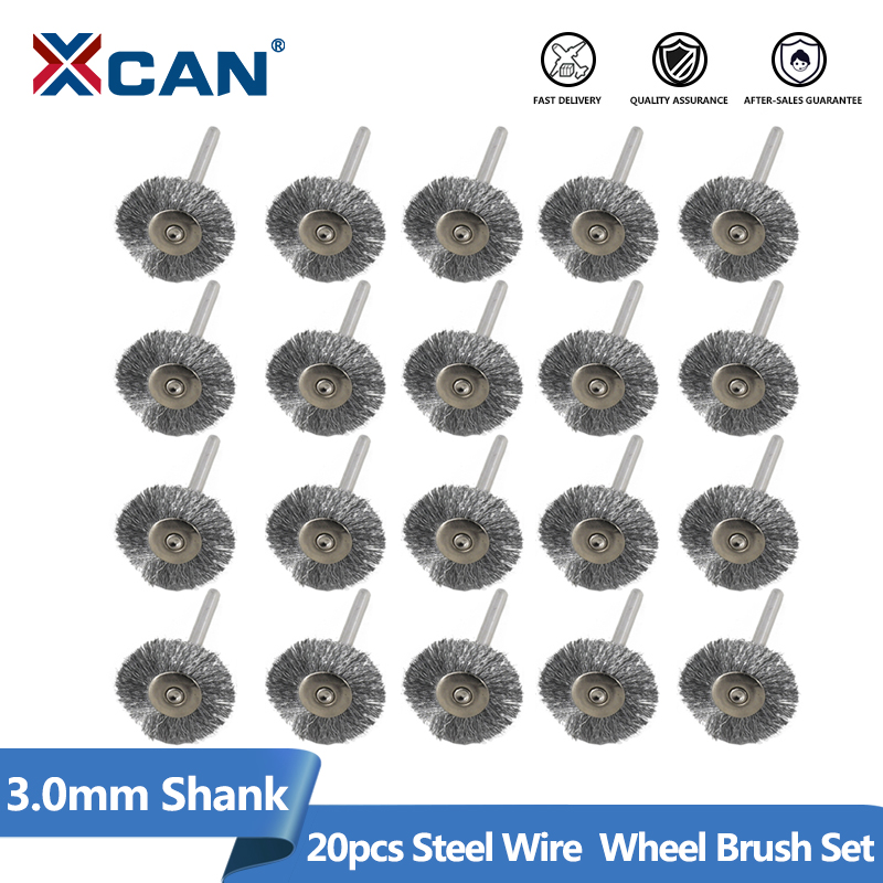 XCAN Stainless Steel Wire Wheel Brush Set 20pcs 3.0mm Shank Polishing Brush For Dremel Rotary Tools