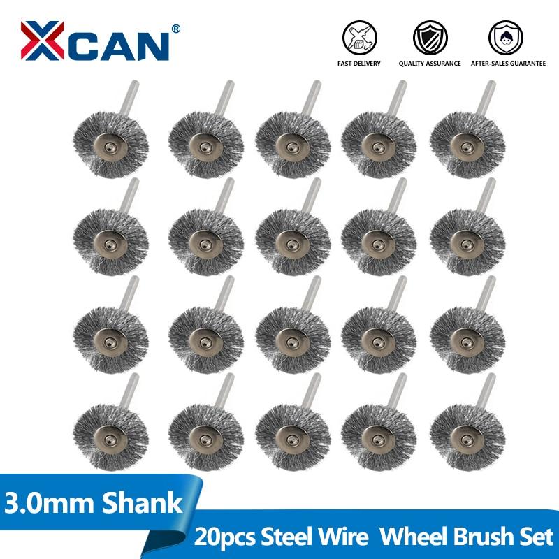 XCAN Stainless Steel Wire Wheel Brush Set 20pcs 3.0mm Shank Polishing Brush For Dremel Rotary Tools