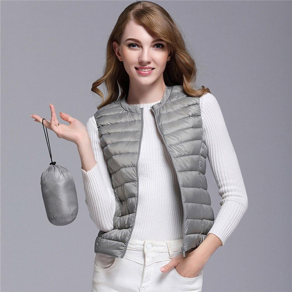 Women's Ultra Light Duck Down Vest Jacket Women White Duck Down Vest 2019 Autumn Winter Round Collar Sleeveless Coat For Women