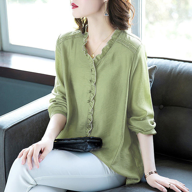 Women Spring Autumn Style Blouses Shirts Lady Casual V-Neck Long Sleeve Loose Style Blusas Tops DD8853 1
