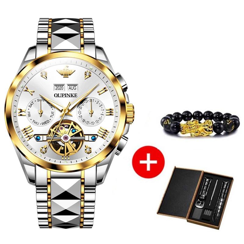 2020 Luxury Men Mechanical Wristwatch Tungsten Steel Tourbillon Watch Sapphire Glass Men Watches reloj hombre OUPINKE Brand 6