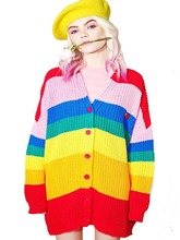 NiceMix autumn 2019 Harajuku Rainbow Cardigan Women Loose Sweater Coat Female Oversized Sweaters Letter Embroidery Jumper female korean harajuku hong kong flavored loose rainbow stripe sweater women s pullover sweaters