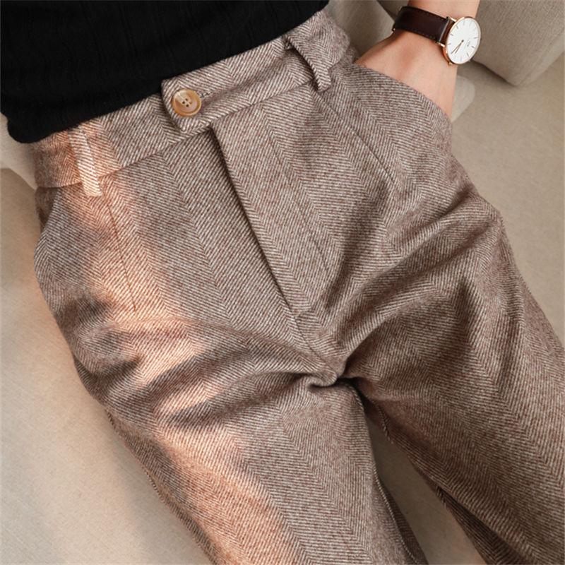 Herringbone Woolen Pants Women's Harem Pencil Pants 2021 Autumn Winter High Waisted Casual Suit Pants Office Lady Women Trousers