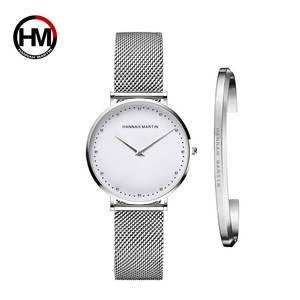 Image 2 - 1 세트 시계 & 팔찌 일본 쿼츠 무브먼트 심플 여성 방수 탑 럭셔리 브랜드 패션 스테인레스 스틸 여성 시계