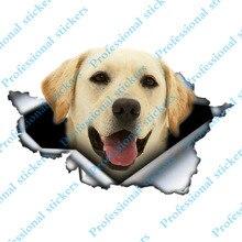 Komik 13cm x 8.5cm Pet köpek Labrador Retriever 3D yırtık araba Sticker orijinal tasarım vinil araba gövde tampon dekor özel çıkartma