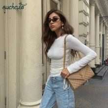 SUCHCUTE White Female T-Shirt Lace Flod Modis Longslive Women's Shirt Casual Basic Modis Autumn 2019 Korean Style Tops For Women