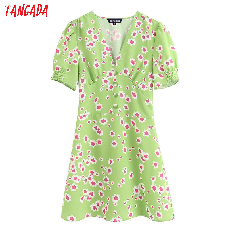 Tangada Fashion Women Green Flowers Print Summer Dress V Neck Short Sleeve Strethy Waist Ladies A-line Dress Vestidos BE312