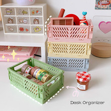 Storage-Box Stationery Organizer Office-Desk-Storage-Basket Desktop Folding Plastic Creative