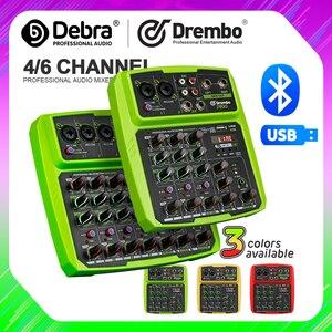 Console audio protable do misturador de digitas do canal de drembo 4/6 com placa de som, bluetooth, usb, 48v energia fantasma para a gravação do computador do dj