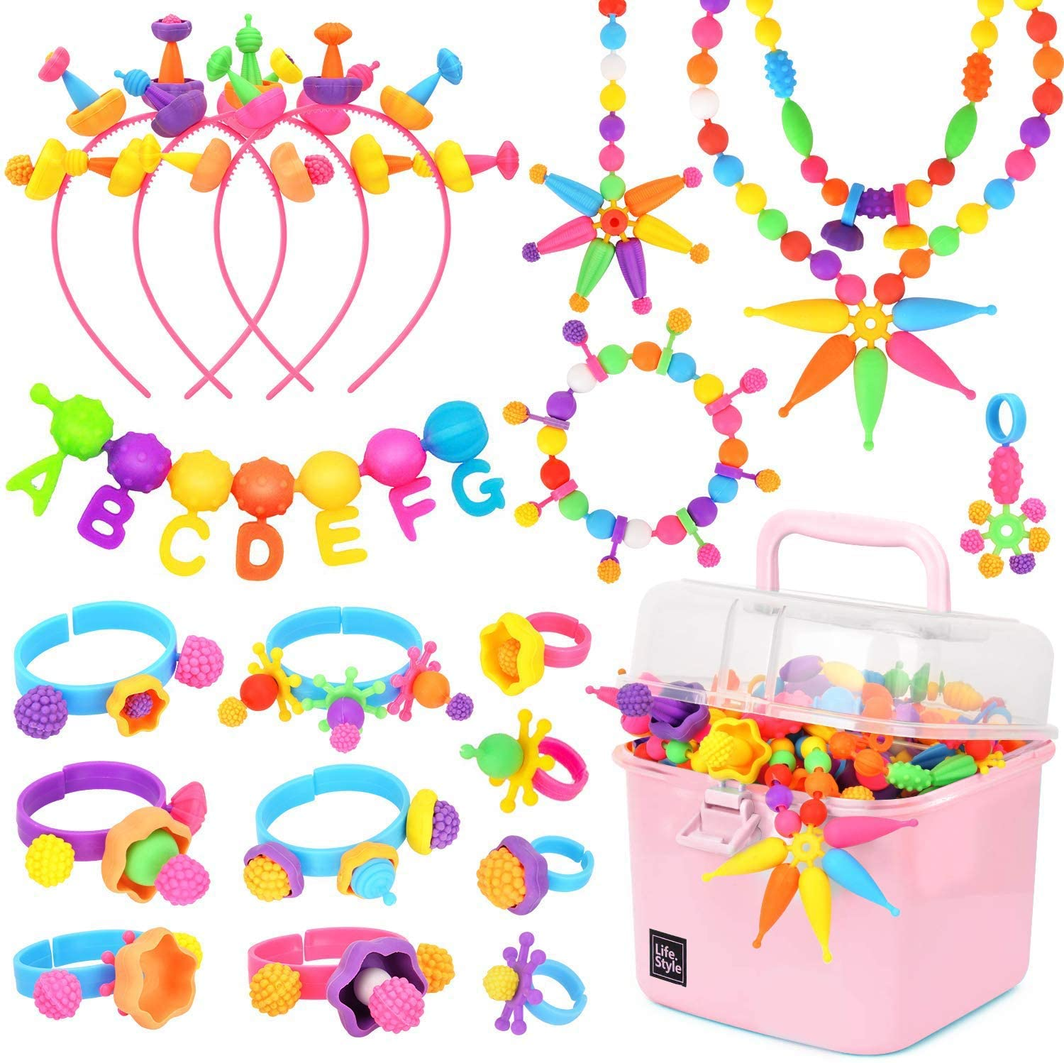 600 PCS Pop Beads,DIY Jewelry Making Kit -Arts And Crafts Toys Gifts For Kids Age 3yr-8yr, 1 Kg Pop Snap Beads Set Making Neckla
