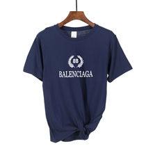Camiseta de algodón con letras estampadas para mujer, Tops informales de manga corta en blanco, negro y rosa, marca de lujo 2021