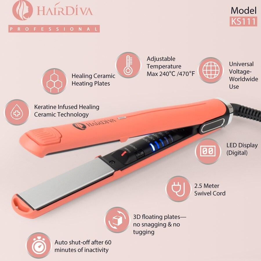 HairDiva 240C 470F Keratin Hair Straightener Hair Flat Irons Wave Hair Curler titanium flat iron professional flat iron in Straightening Irons from Home Appliances