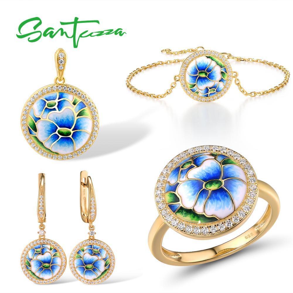 SANTUZZA Jewelry Set for Women 925 Sterling Silver Blue Orchid Enamel Earrings Ring Pendant Bracelet Set Trendy Fine Jewelry