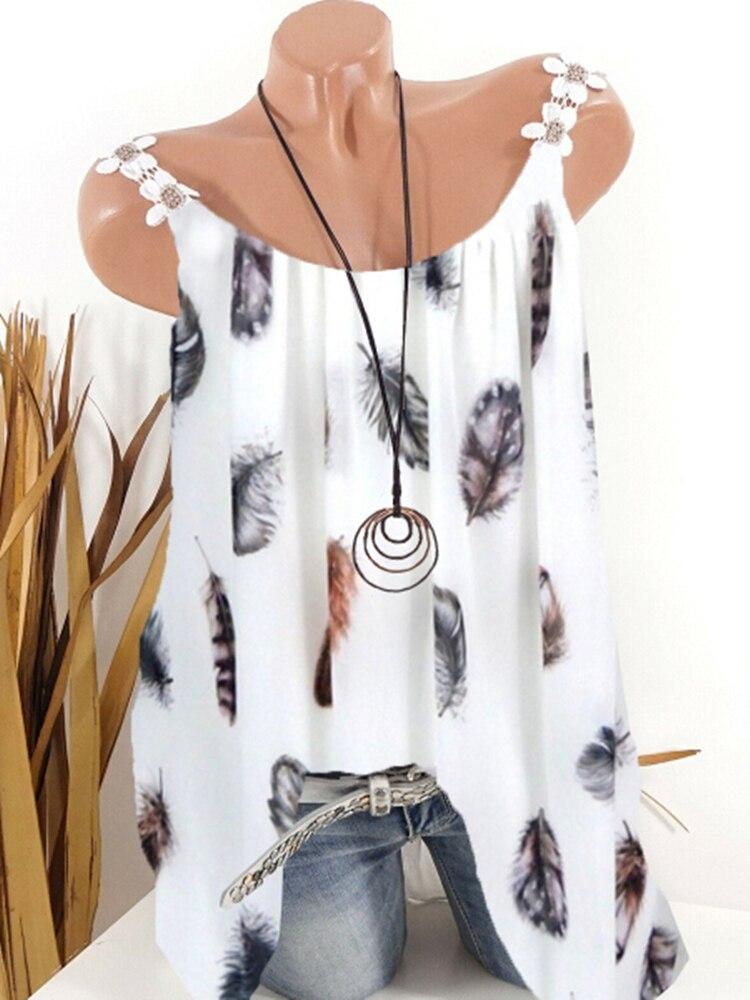 New Ladies T-shirt Vest T-shirt Tops Fashion Printing Sleeveless Bottoming Shirt