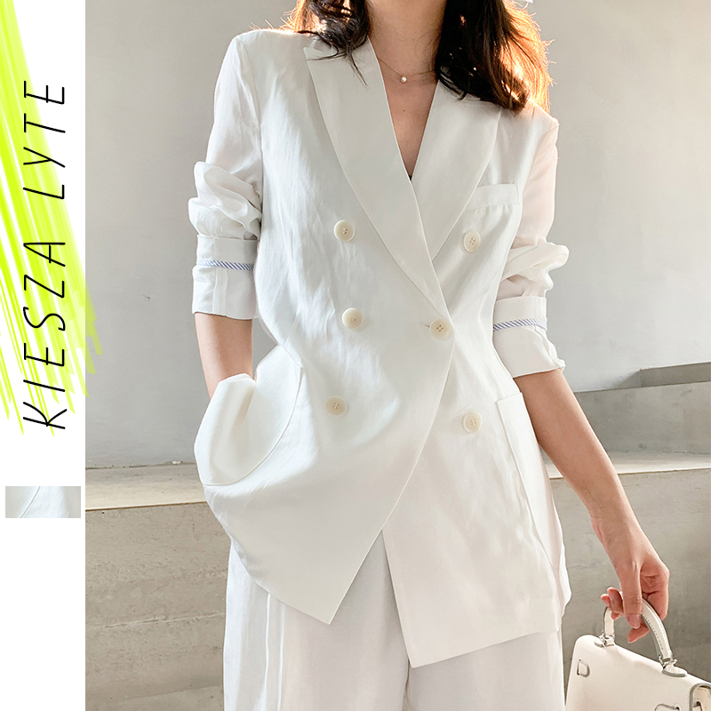 Women's Blazer Suit Solid White Blazer Pant Suit  Ladies Casual Blazer And Ankle Pants Femme High Street Casual Wear