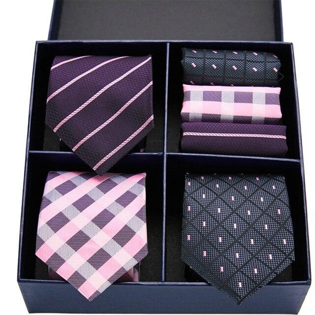 Plaid Necktie & Handkerchief Sets 5