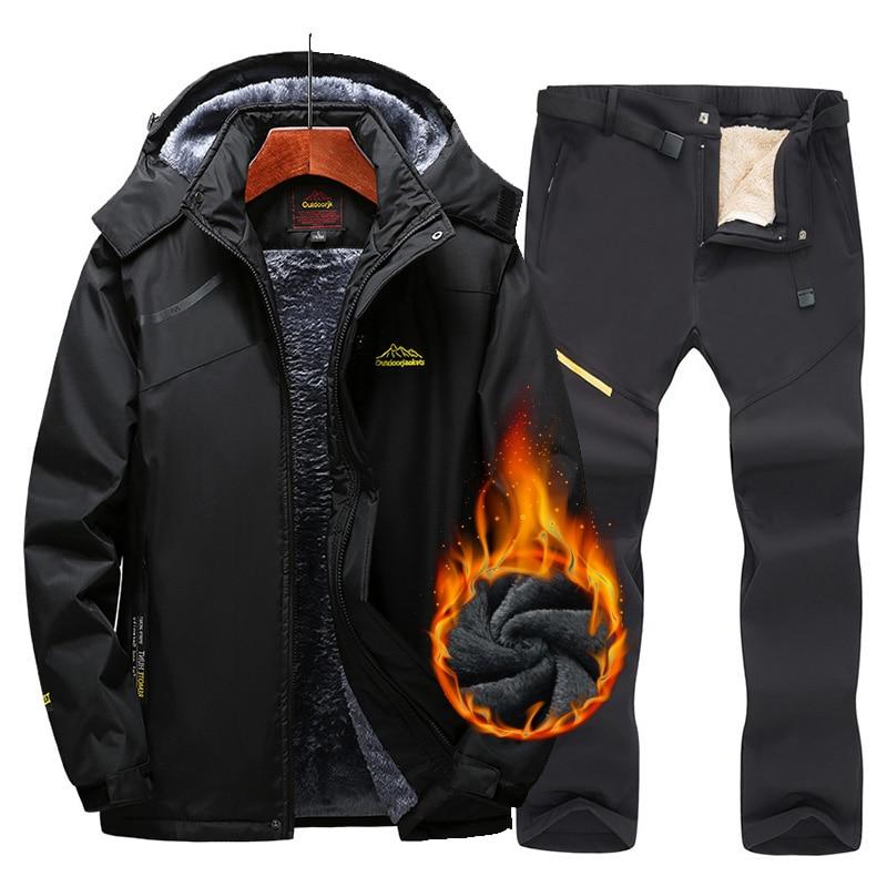 New Ski Suit For Men Snow Skiing And Snowboarding Sets Warm Waterproof Windproof Snowboard Fleece Jacket+pants Men's Winter Suit