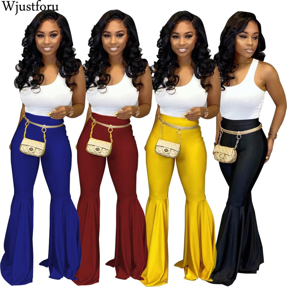 Wjustforu Black Faux PU Leather Women's Pants High Waist Flare Bell Bottom Ladies Pants Streetwear Slim Party Club Pantalon Slim