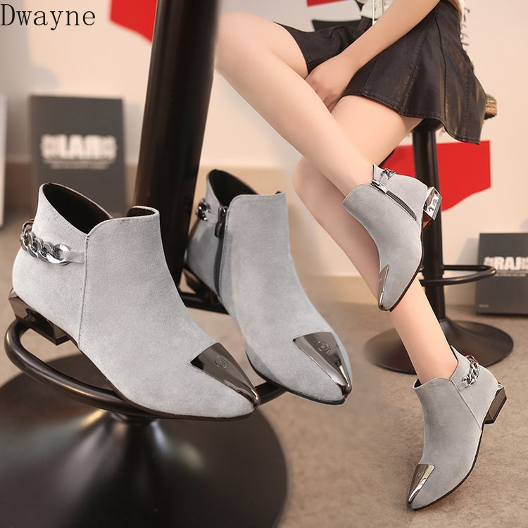 Women's Cotton Shoes Fall and Winter 2019 New Tip Iron Head Grinded Shoes Rough-heeled Martin Boots Low-heeled Chelsea Boots 24