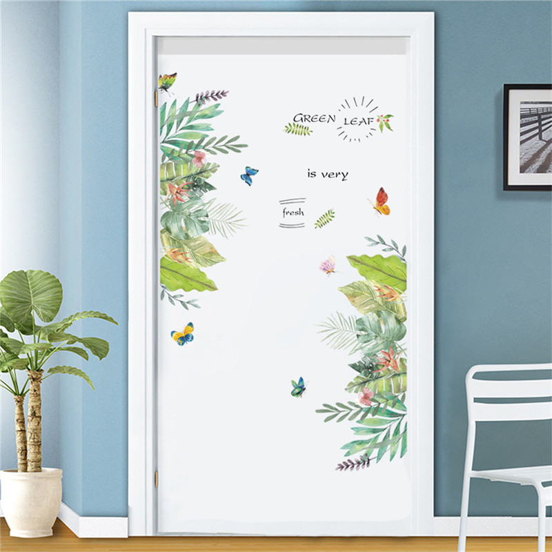 Nordic Style Palm Leaf Door Decoration Sticker Living Room Bedroom DIY Posters Self-adhesive Wallpaper Wall Decor Mural Decals