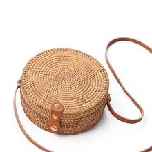 Round Pentagram design Retro Style Straw Handbags Women Rattan Shoulder Bags Handmade Woven Bohemia Crossbody bag New Fashion