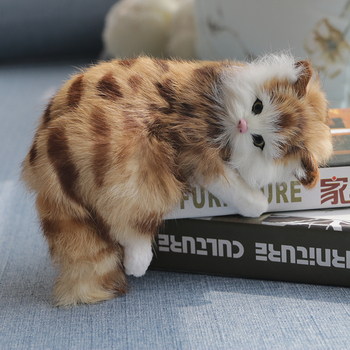 Simulation Cat Animal Model Fur Handicraft Kitten Doll Blinking Anime Plush  Stuffed & plush animals dog toys