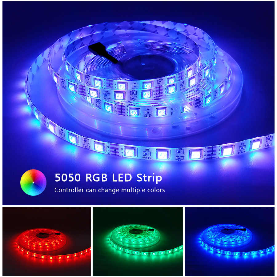 RGB 300 LED قطاع ضوء 5 متر 60 المصابيح/م 5050 مصلحة الارصاد الجوية 2835 أبيض دافئ أبيض أحمر أزرق LED قطاع 12 فولت شريط مرن مقاوم للماء حبل الشريط