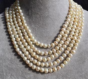 Unique Pearls jewellery Store 100 inches Long Pearl Necklace 6-7mm White Round Genuine Freshwater Pearl Necklace Fine Jewelry