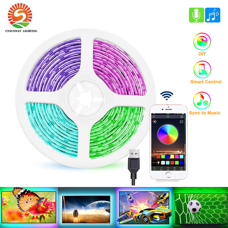 App-Control Lights-Tape Strip Laptop TV Bluetooth Usb-Backlights Music-Sync Rgb 5050