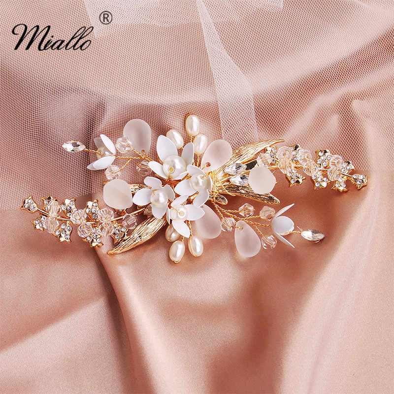 Miallo 2019 Fashion Wedding Hair Clips Flowers Bridal Hair Jewelry Accessories Handmade Hair Ornaments Headpieces