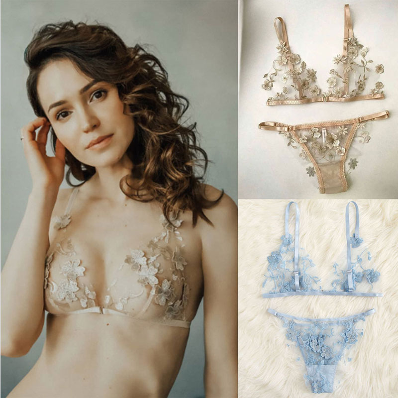 Embroidery Women Sexy Bra Brief Sets Lace Floral Bralette Bra Bustier Women's Intimates Sheer G-String Transparent Underwear