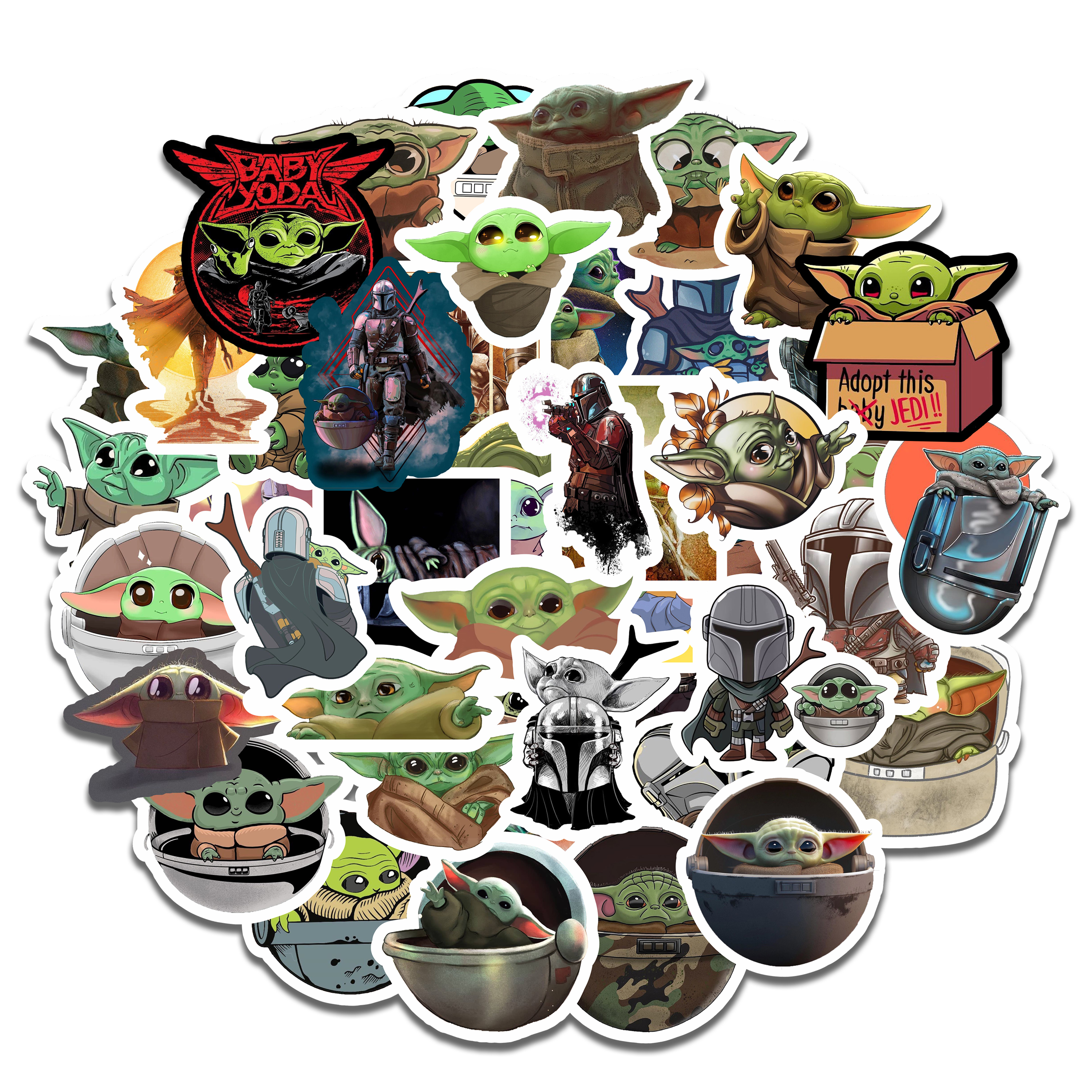 50PCS The Mandalorian Baby Yoda Stickers Waterproof For Laptop Moto Skateboard Luggage Guitar Furnitur Decal Toy Stickers