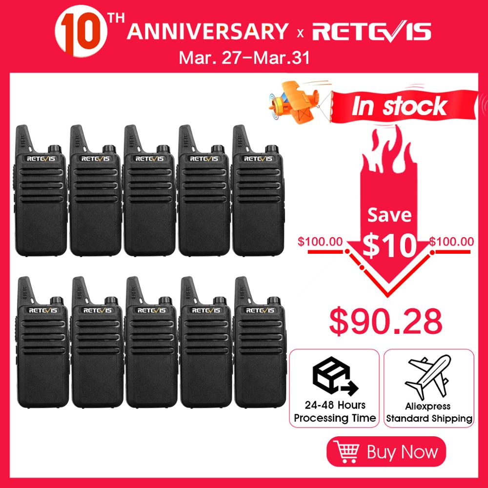 10pcs Portable Walkie Talkie Retevis RT22 RT622 PMR PMR446/FRS Mini Rechargable Two-way Radio Woki Toki  For Hotel/Restaurant