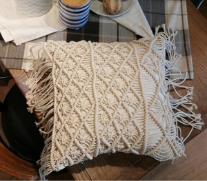 Image 4 - 45*45cm 100% Cotton Linen Macrame Hand woven Cotton Thread Pillow Covers Geometry Bohemia Cushion Covers Home Decor
