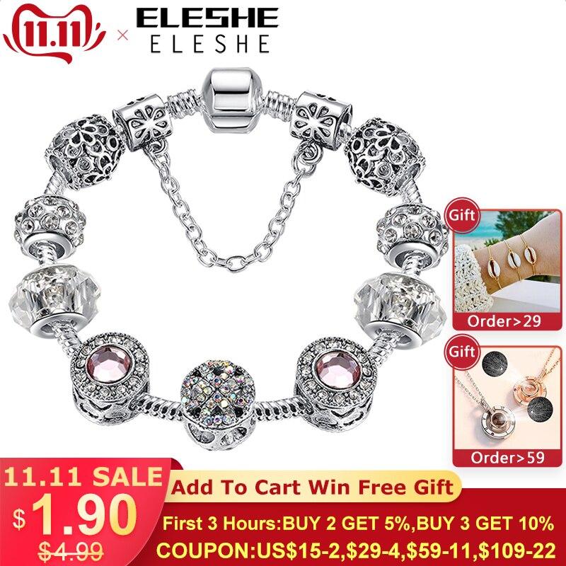Original Tibet Silver Crystal Four Leaf Clover Bracelet with Murano Glass Beads Charm Bracelet Bangle for Women DIY 925 Jewelry